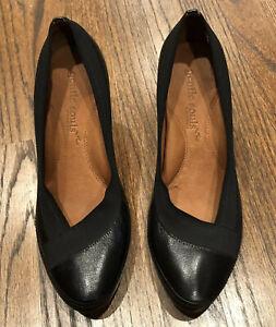 GENTLE-SOULS-Black-Leather-amp-Elastic-Pumps-High-Heels-039-I-Feel-039-Leather-Size-10