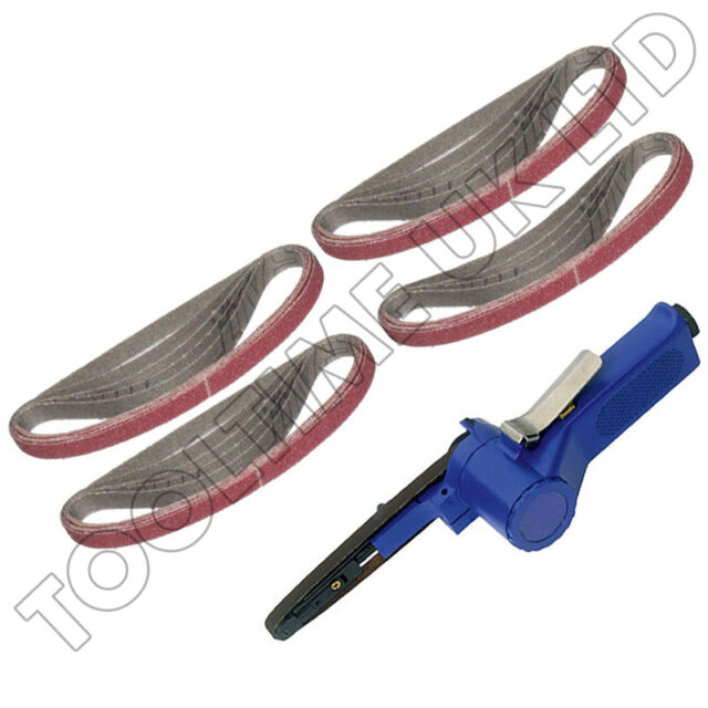 PRO QUALITY 10MM AIR BELT SANDER FINGER FILE + 19PC - 10MM X 330MM SANDING BELTS