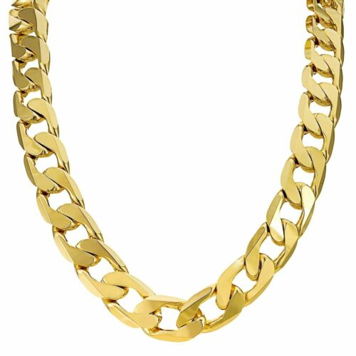 Mens women/'s boys kids 18ct Gold Filled Curb Chain Necklace range solid heavy