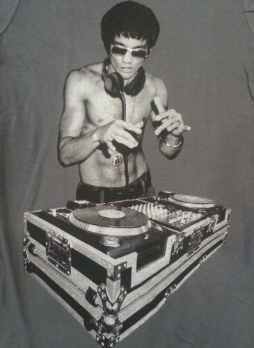 Bruce Lee DJ Heavy Metal Gray V Neck T shirt Gungfu Scratch XXL MMA