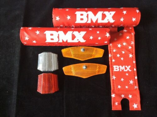 BMX Bike 7 Piece Set Red All American Pads /& Safety Yellow /& Red//W Reflectors!