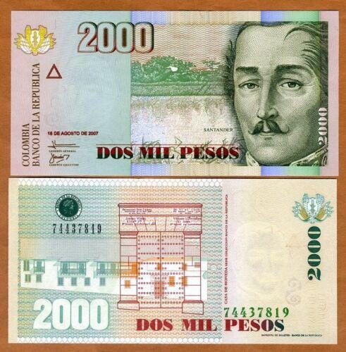 Pesos 2007 Colombia P-457f 2000 2,000 UNC
