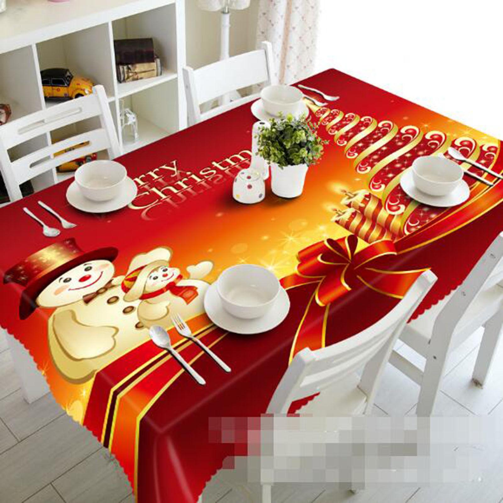 3D Snowman 44 Tablecloth Table Cover Cloth Birthday Party AJ WALLPAPER UK Lemon