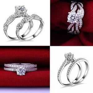 Women-Engagement-Wedding-2Pcs-Set-Cubic-Zirconia-Silver-Plated-Ring-HS