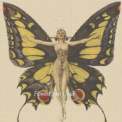 Cross stitch chart  Art Deco Lady  butterfly AD330 FlowerPower37-uk ..