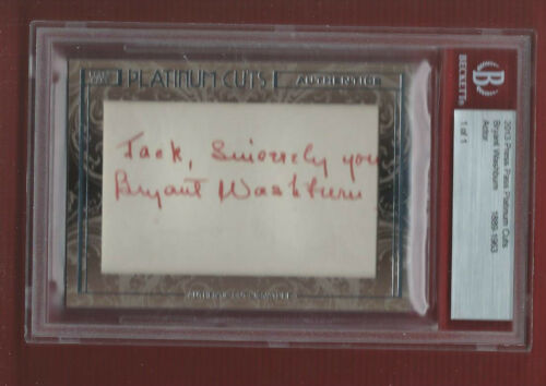 BRYANT WASHBURN 2013 BECKETT CERTIFIED Autograph SILENT SCREEN ACTOR Platinum