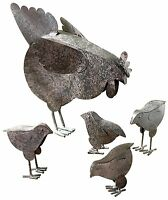 Outdoor Garden Sculpture Set Animals Metal Hen Chicken Decor Figurine Vuntage