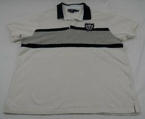 Polo-Ralph-Lauren-Custom-Fit-Rugby-Shield-Crest-XXL-Beige-Gray-Navy-Blue-Stripes