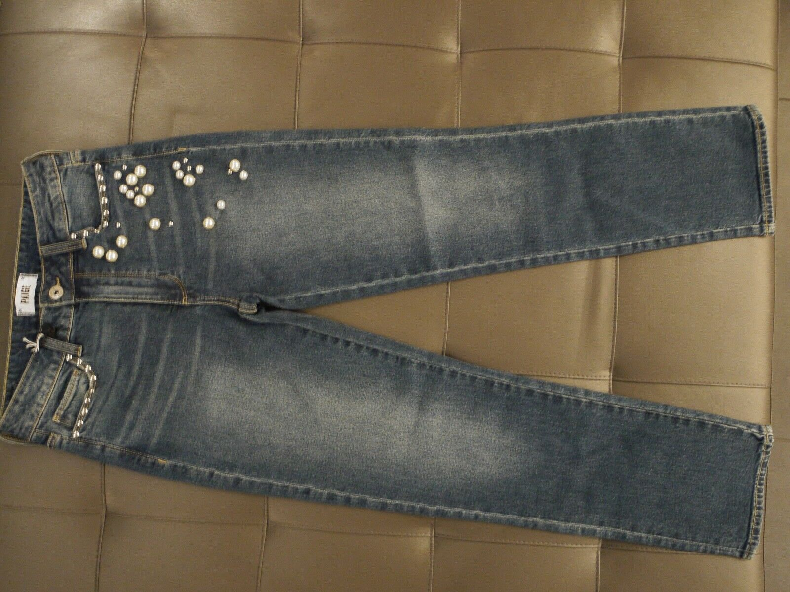 PAIGE Jacqueline Straight High Rise Straight Crop with Embellishment Size 27 NWT