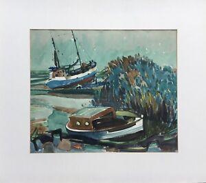 Karin-Witte-1939-Hamburg-Fishing-Boats-at-Ebb-at-Shore-Elbe-North-Sea-68X77