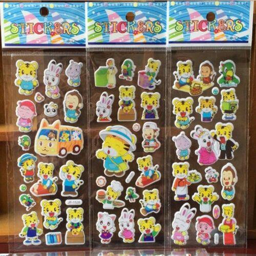 1//10 Sheets 3D Cartoon Kids ClassicToys Sticker School Reward Bubble Stickers