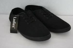 Black Flats Ladies Canvas Lace-Up