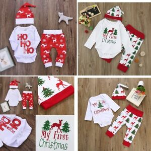 22ee4526c 3Pcs Christmas Newborn Baby Boy Girl Romper Tops+Pants+Hat Outfits ...