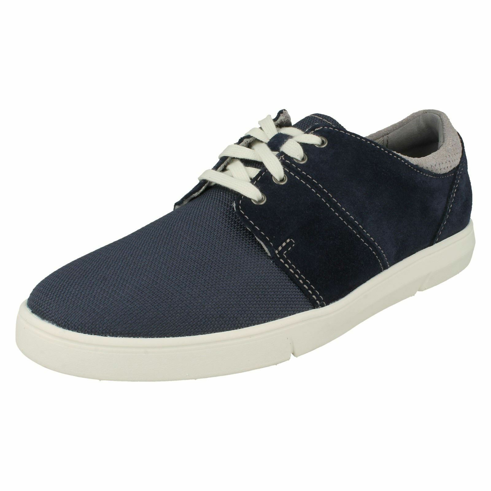 Mens Clarks Rounded Toe Casual Lace Up Suede & Textile schuhe Landry Edge