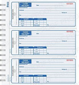 wire bound custom printed cash receipt books ebay