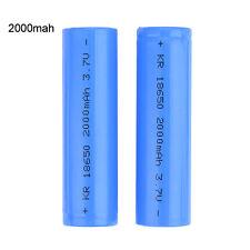 2pcs 18650 Rechargeable Li-ion Vape Battery 2000mAh 3.7V Unprotected Flat Blue