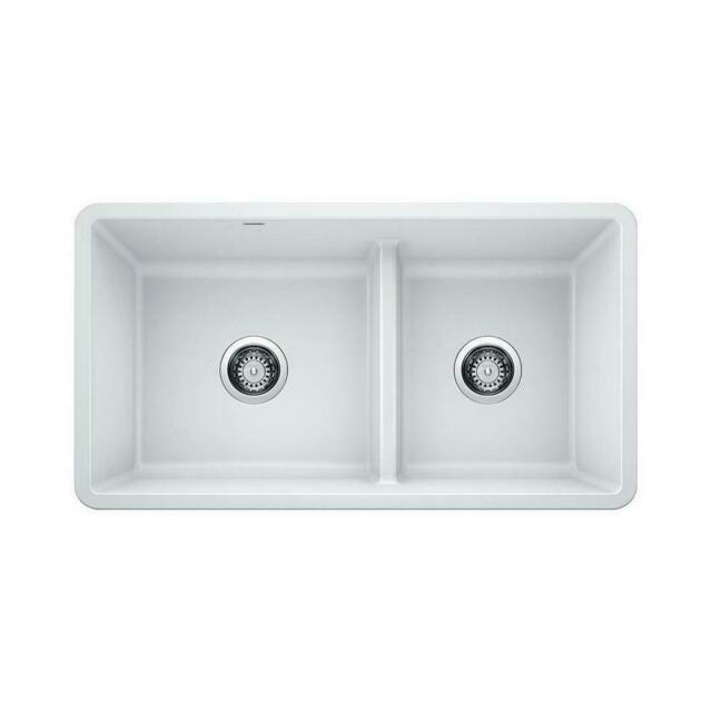 Blanco 442524 White Precis 33 Undermount Double Basin Composite Kitchen Sink For Sale Online Ebay