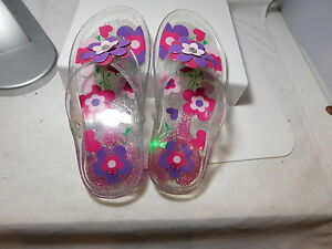 Buster Brown Jelly Pink Violet Size 2 Light Up Shoes Flowers Flats Flip Flop