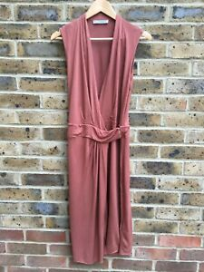 ALLSAINTS-robe-sans-manches-Taille-12-UK-UE-40-Rusty-Red-Long-Dos-Nu-Maxi