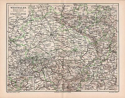 100% Wahr Landkarte. Deutschland. Westfalen. 1905