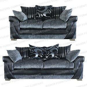 Brand New Lush 2 And 3 Seater Sofas Grey Chenille And