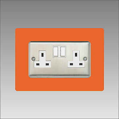 Double Socket Surround Finger Plate, Panel Cover, gloss acrylic, 2-Gang