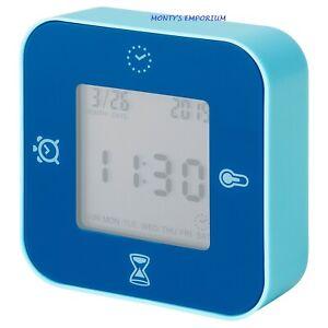 Detalles de Reloj digital nuevo de Ikea lottorpTermómetroalarmaTemporizador Azul ver título original