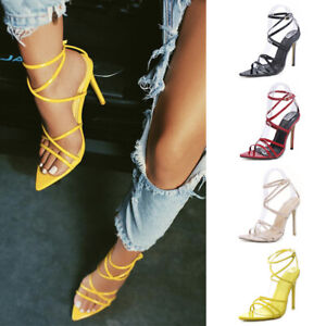 Sexy-Women-Ladies-Open-Toe-Ankle-Strap-Pointy-Sandals-High-Heel-Party-Shoes-Size