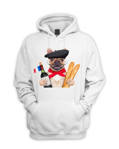 French Bulldog With Wine and Baguette Pouch Pocket Hoodie Funny Pet Bull Dog