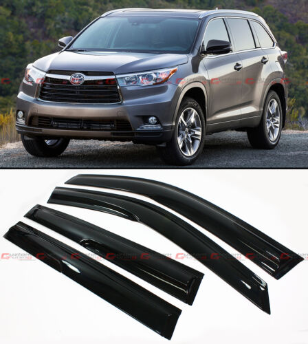 FOR 2014-16 TOYOTA HIGHLANDER XU50 JDM WAVY STYLE SMOKE WINDOW VISOR RAIN GUARD