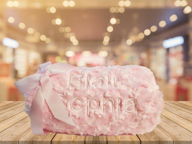 Super Soft Baby Blanket Wrap White Cream Blue Pink Gift Christening 90x75cm