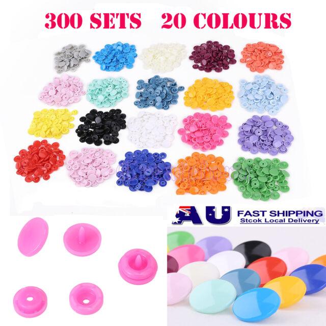 300 Sets KAM Snap Kits T5 Plastic Snaps Fastener Buttons Press Stud Set Size 20