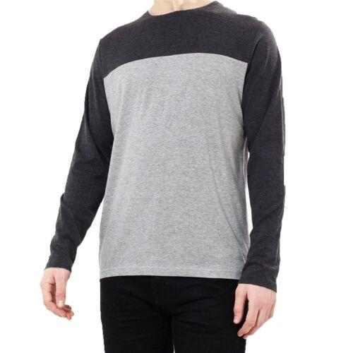 Da Uomo Brave Soul Girocollo A Maniche Lunghe Pannello Di Contrasto 100/% Contrasto T-Shirt Top