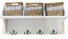Large Storage Unit With Wicker 3 Basket Wooden Shelf Rack Wall Mounted Hooks