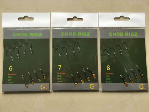 Fishing Tackle ReadyTied Chod Rigs 4 Per Pack.Hooks Weights Hair rigs Swivels-CR