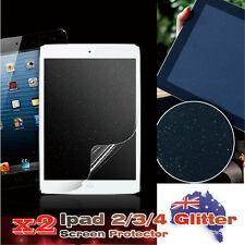 2 x iPad 2/3/4 Silver Diamond Effect Screen Protector Guard Film Premium