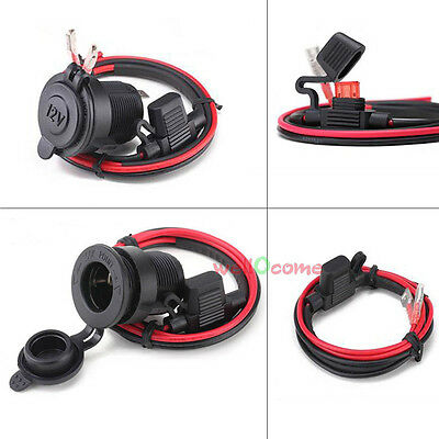 DC 12V Waterproof Motorcycle Cigarette Lighter Power Supply Outlet Socket Cable