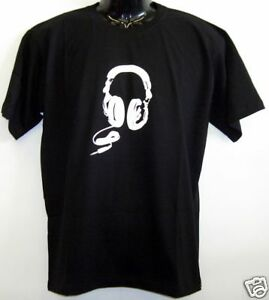 Fun-T-Shirt-Headphone-Kopfhoerer-schwarz-S-XXL