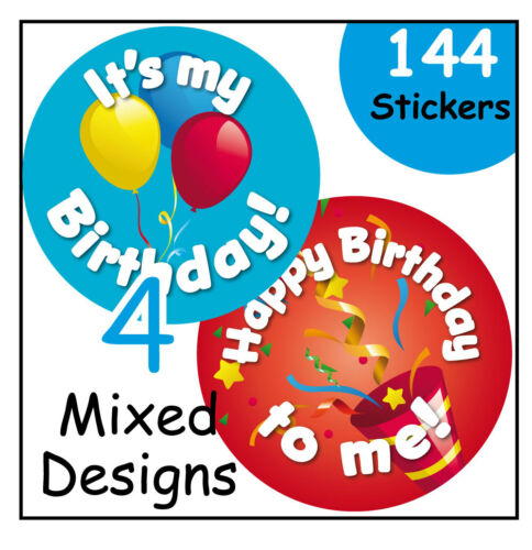 Happy Birthday stickers school or home nursery learning incentive