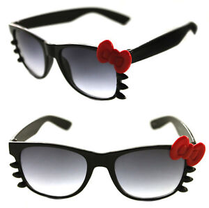 f0384c8c1 Women's Hello Kitty Sunglasses Horn Rimmed Soho Black with red Bow ...