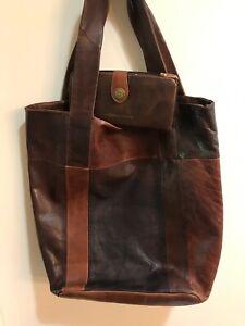 Tote-All-Leather-Tote-Vintage-Large-Handbag-Shoulder-Bag-Preowned-w-wallet