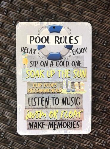 Rétro Métal Tin Signe Piscine Règles piscine Plaque Wall Poster