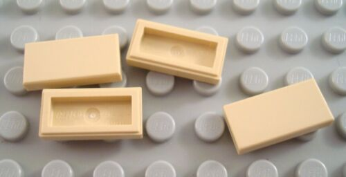 LEGO Lot of 4 Tan 1x2 Smooth Flat Tile Pieces