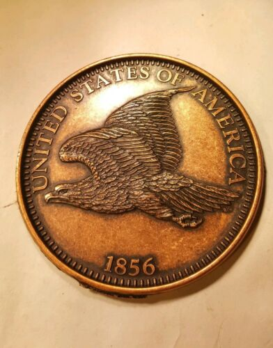 Large 3 Inch Novelty Medal//Coin//Coaster//Paperweight 1856 Flying Eagle Cent Pewte