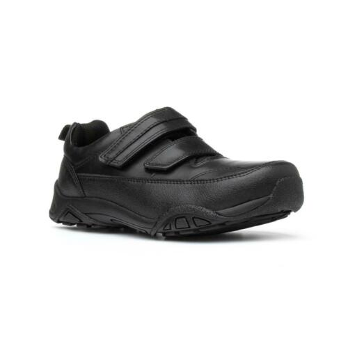 Red Tape Boys Black Touch Fasten Leather Shoes with Gripped Sole