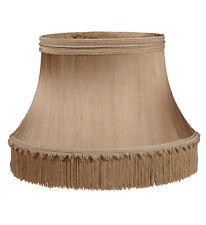 Victorian Fringe Floor Lamp Shade Shallow Drum Pure Silk Large Antique Gold
