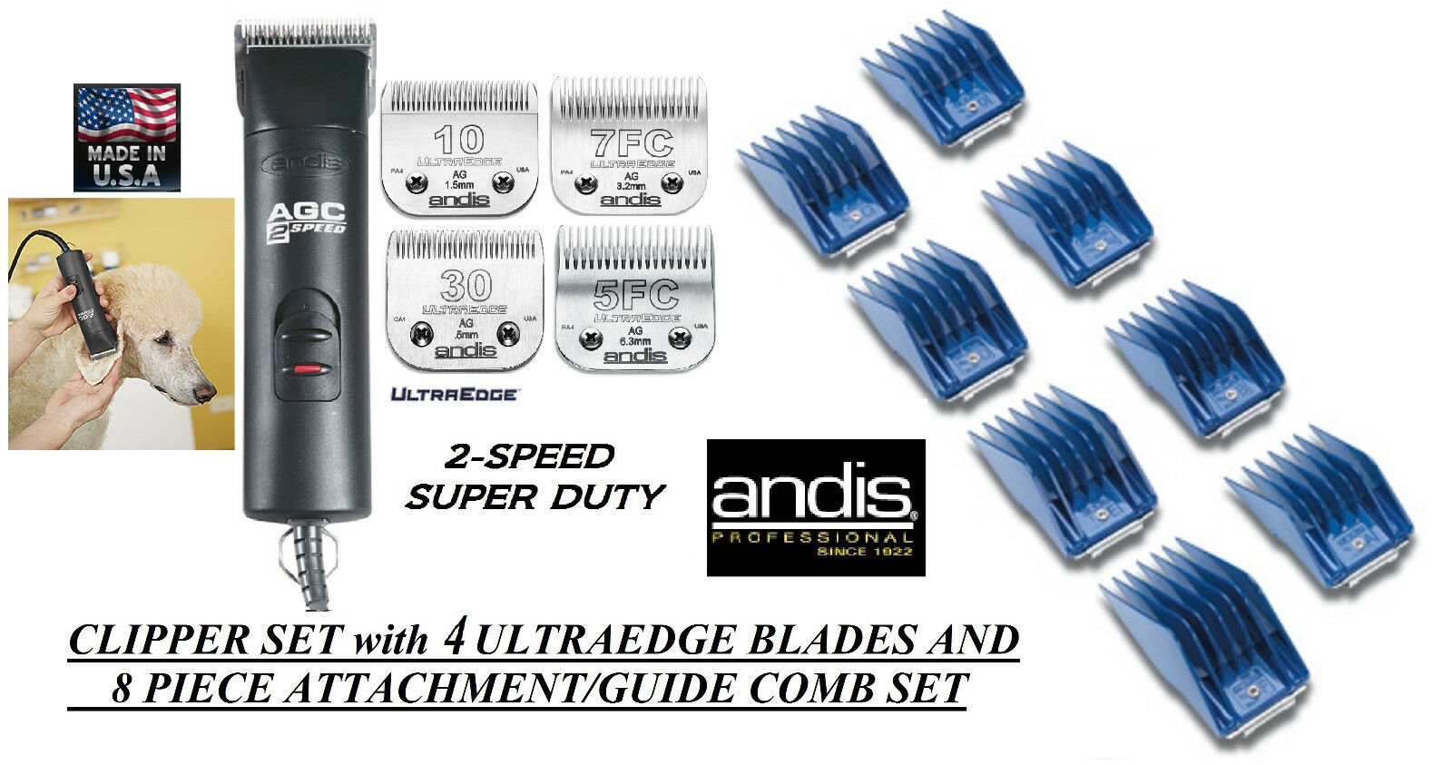 Andis SUPER Pro 2Speed Clipper,4 ULTRAEDGE BLADES,8 GUIDE COMB SET*PET Grooming