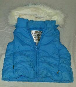 220a1600ece6ec Girls Children s Place Blue Sparkly Vest w  Detachable Faux Fur Hood ...