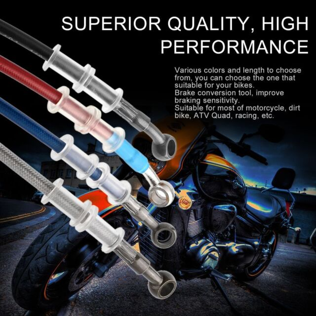 Motorcycle Braided Steel Brake Clutch Oil Hose Tube Line Pipe:BLUE 120cm M