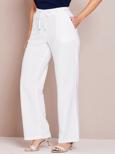 Lin-Mix Marlene Pantalon sommerhose haushose blanc Taille 56 58 Neuf #13